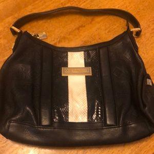 LAMB shoulder bag black w/snakeskin detail